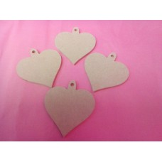 4mm Heart With Hanging loop 80mm high QTY 10